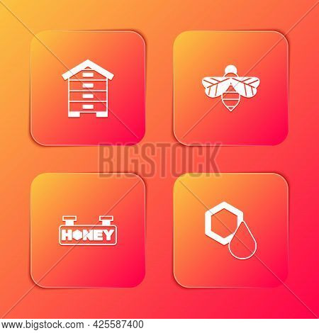 Set Hive For Bees, Bee, Hanging Sign With Honeycomb And Honeycomb Icon. Vector
