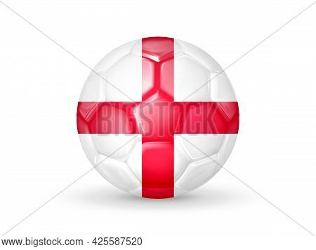 3d Soccer Ball With The England National Flag. English National Football Team Concept. Isolated On W