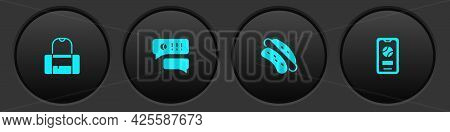 Set Sport Bag, Speech Bubble Chat Baseball, Hotdog Sandwich And Mobile With Icon. Vector