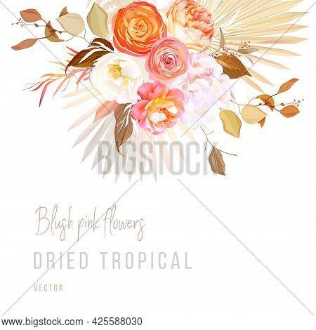Trendy Dried Palm Leaves, Blush Pink Rose, Orange Ranunculus, White Hydrangea