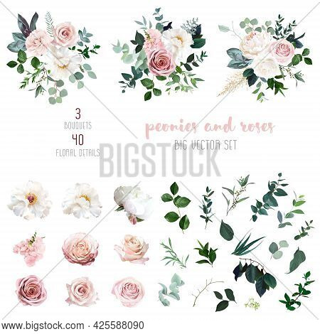 White Peonies, Blush And Dusty Pink Roses, Blooming Freesia, Eucalyptus, Salal, Pampas Grass