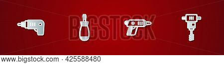 Set Electric Cordless Screwdriver, Screwdriver, And Electrical Hand Concrete Mixer Icon. Vector