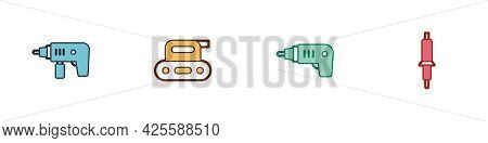 Set Electric Drill Machine, Planer Tool, Cordless Screwdriver And Soldering Iron Icon. Vector
