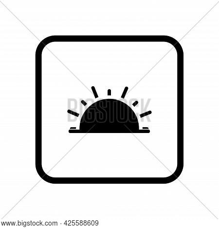 Sunset Or Sunset, Black Icon On A White Background. Icon For Web Design. Vector.