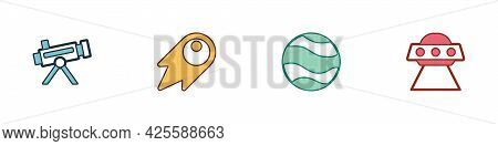 Set Telescope, Comet Falling Down Fast, Planet And Ufo Flying Spaceship Icon. Vector