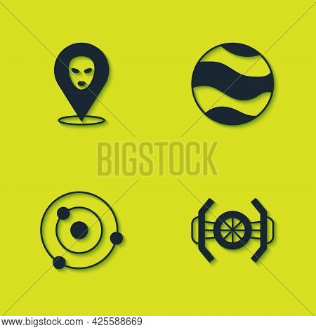 Set Alien, Cosmic Ship, Solar System And Planet Icon. Vector