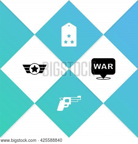 Set Star American Military, Pistol Or Gun, Military Rank And The Word War Icon. Vector