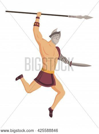 Ancient Rome Gladiator. Vector Roman Warrior Character In Armor With Spear And Sword. Flat Illustrat