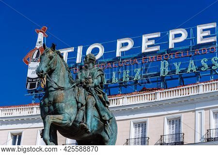 Madrid, Spain - May 8, 2021: Puerta Del Sol In Central Madrid, Spain. Equestrian Statue Of King Char