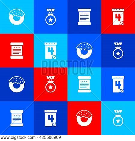 Set Donut, Medal With Star, Declaration Of Independence And Calendar Date July 4 Icon. Vector