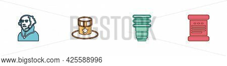 Set George Washington, Patriotic American Top Hat, Paper Glass And Declaration Of Independence Icon.
