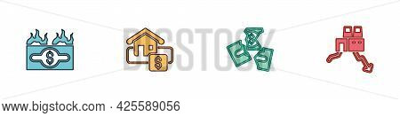 Set Burning Dollar Bill, Hanging Sign With Sale, Tearing Money Banknote And Shutdown Of Factory Icon