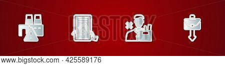 Set Shutdown Of Factory, Mobile Stock Trading, Employee Dismissal And Briefcase Icon. Vector
