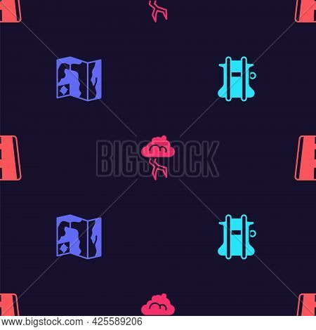 Set Parachute, World Travel Map, Storm And Airport Runway On Seamless Pattern. Vector