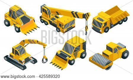 Construction Machinery Isometric Set. Heavy Transportation. Icons Collection Representing Heavy Mini