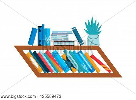 Bookshelf With Colorful Books. Back To School And Education Study Wall Concept. Library Interior Ele