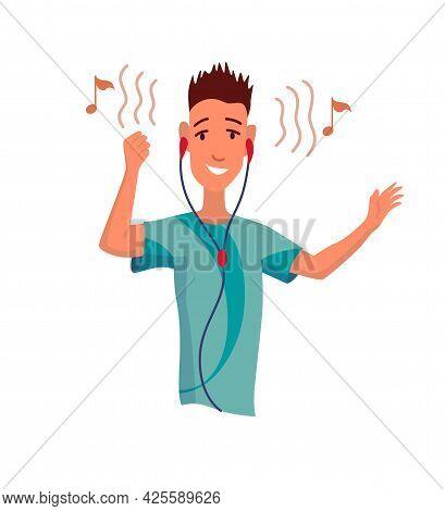 Man Listening To Music. Hand Dancing Of Cartoon Young Character With Earphone. Joyful People Wearing