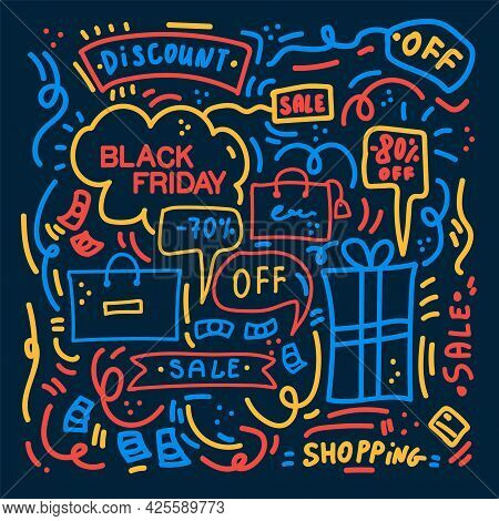 Black Friday Pattern. Black Friday Big Discount Poster Linear Background. Promo Concept Of The Patte