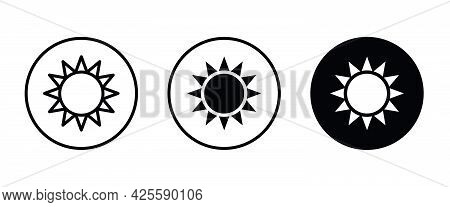 Brightness Icon, Intensity Setting Vector. Sun With Rays Icon