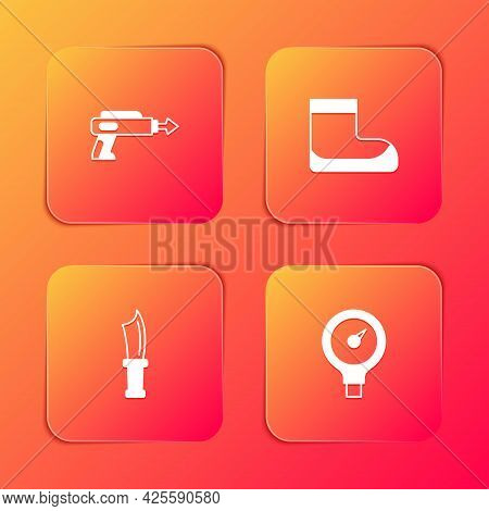 Set Fishing Harpoon, Boots, Diving Knife And Gauge Scale Icon. Vector