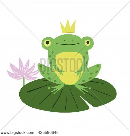 Frog Prince On Lily Pad. Cartoon Vector Illustration Of Green Frog With Crown.