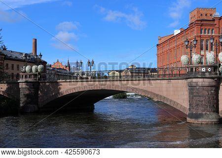 Bridge In Norrkoping Town In Sweden. Former Industrial Landscape - Revitalized Architecture.