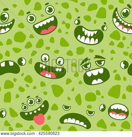 Monster Faces Seamless Pattern. Cartoon Halloween Monsters, Ghosts And Aliens Eyes, Mouths And Teeth