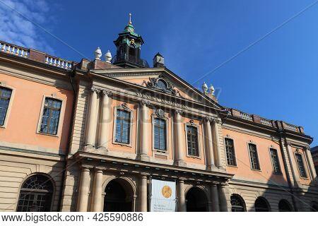 Stockholm, Sweden - August 24, 2018: Swedish Academy (svenska Akademien) In Stockholm. Swedish Acade