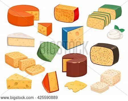 Cheese Types. Cartoon Cutted Parmesan, Brie Triangle, Mozzarella, Gouda Cheddar And Feta Slices. Tas