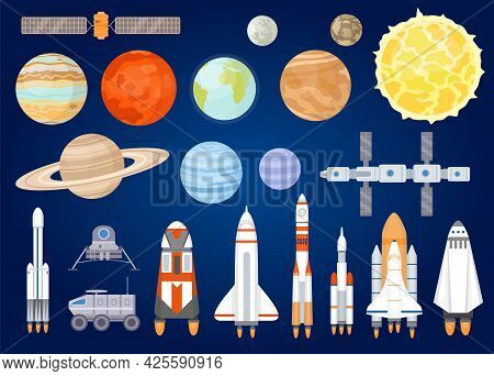 Space Elements. Solar System Planets, Sun, Spaceship, Rocket, Satellites, Mars And Moon Rover. Unive