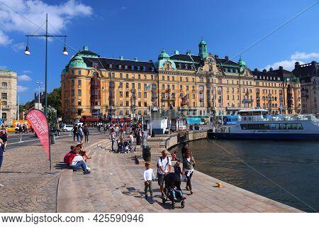 Stockholm, Sweden - August 24, 2018: People Visit Nybroplan Square, Stockholm, Sweden. Stockholm Is