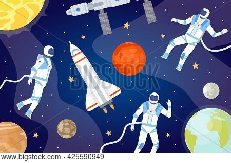 Cosmic Background With Astronauts. Outer Space With Spaceship, Planets, Stars And Spaceman Exploring