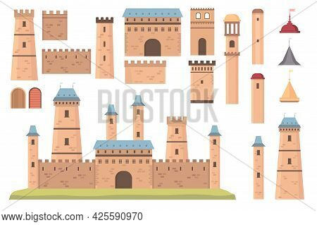 Castle Constructor. Medieval Architecture Elements, Towers With Flags, Walls And Doors. Old Historic