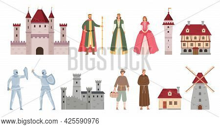 Medieval Characters. Cartoon Middle Ages King, Queen, Princess, Knights Duel On Sword, Peasant And M