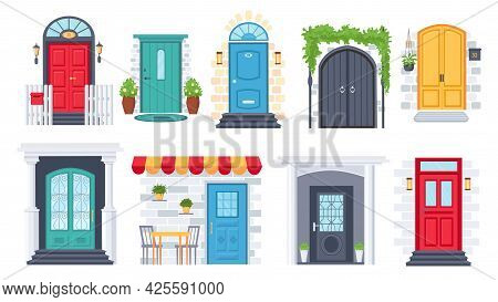 House Front Entrance. Building Door Architecture With Arches, Columns, Flower Pots, Lamp, Doorstep A