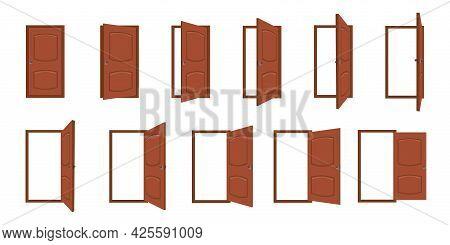 Door Opening. Cartoon Open And Closed Living Room Doors. House Entrance With Frame, Home Wood Doorwa