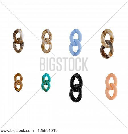 Parts Of A Multicolored Large Plastic Chain From Jewelry Or Bijouterie For Designers And Layout. Iso