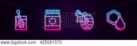Set Line Honey Dipper Stick, Jar Of Honey, Hive For Bees And Honeycomb. Glowing Neon Icon. Vector