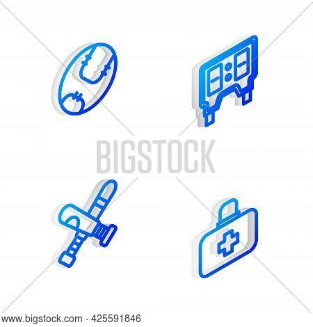 Set Isometric Line Baseball Mechanical Scoreboard, , Crossed Baseball Bat And First Aid Kit Icon. Ve