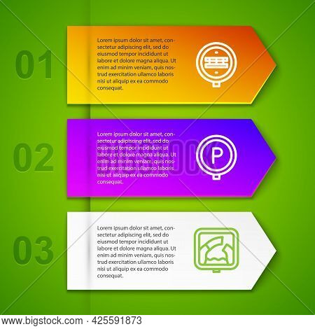 Set Line Railroad Crossing, Parking And Drawbridge Ahead. Business Infographic Template. Vector