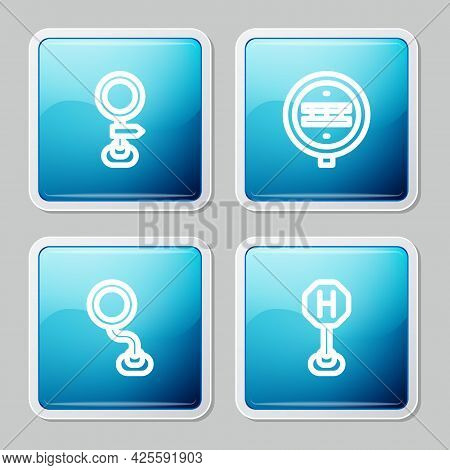 Set Line Road Traffic Sign, Railroad Crossing, And Hospital Icon. Vector