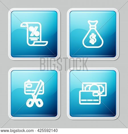 Set Line Finance Document, Money Bag, Scissors Cutting Credit Card And Credit Icon. Vector
