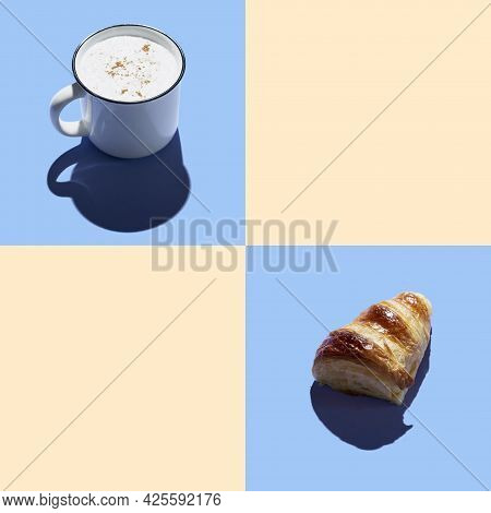 Bakery Products Baked Cutted Croissant  And Coffee Mug At Minimal Background. Delicious And Food Con