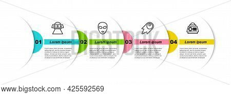 Set Line Ufo Flying Spaceship, Alien, Comet Falling Down Fast And Space Capsule. Business Infographi