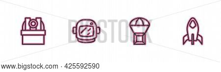 Set Line Astronomical Observatory, Box Flying Parachute, Astronaut Helmet And Rocket Ship Icon. Vect