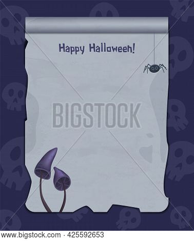 Halloween Background With Empty Sheet Of Paper, Spider And Creepy Mushrooms