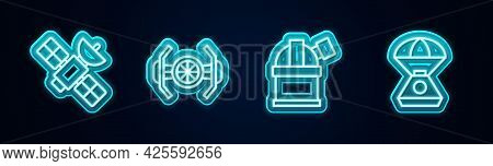 Set Line Satellite, Cosmic Ship, Astronomical Observatory And Space Capsule. Glowing Neon Icon. Vect