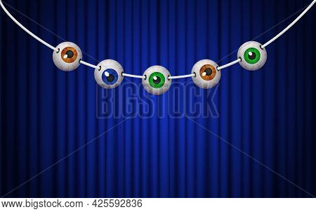 Happy Halloween Background For Design With Hanging Eyes On Blue Curtain
