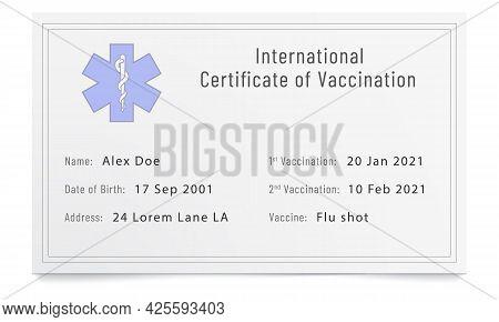 Phony Filled Immunization Certificate. Forged Immune Passport