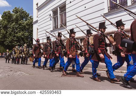 Budapest, Hungary - May 19 2019: Traditional Hungarian Hussars In Uniform.